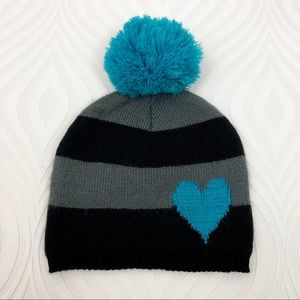 Betseyville Black/Gray Striped Hat With Teal Pom